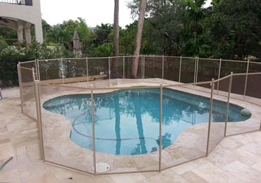 Brown/Beige Pool Fence